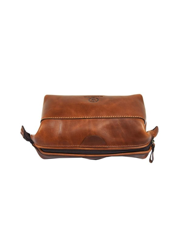 Normandy Leather Toiletry Bag - Caramel Brown