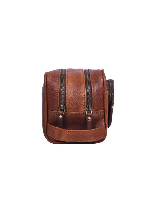 Barcelona Leather Toiletry Bag - Caramel Brown