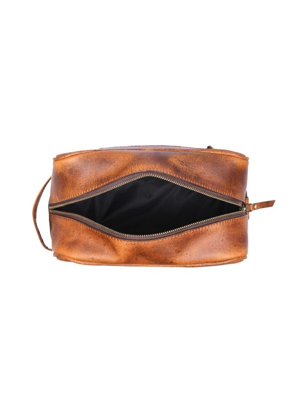 Vacone Leather Toiletry Bag - Caramel Brown