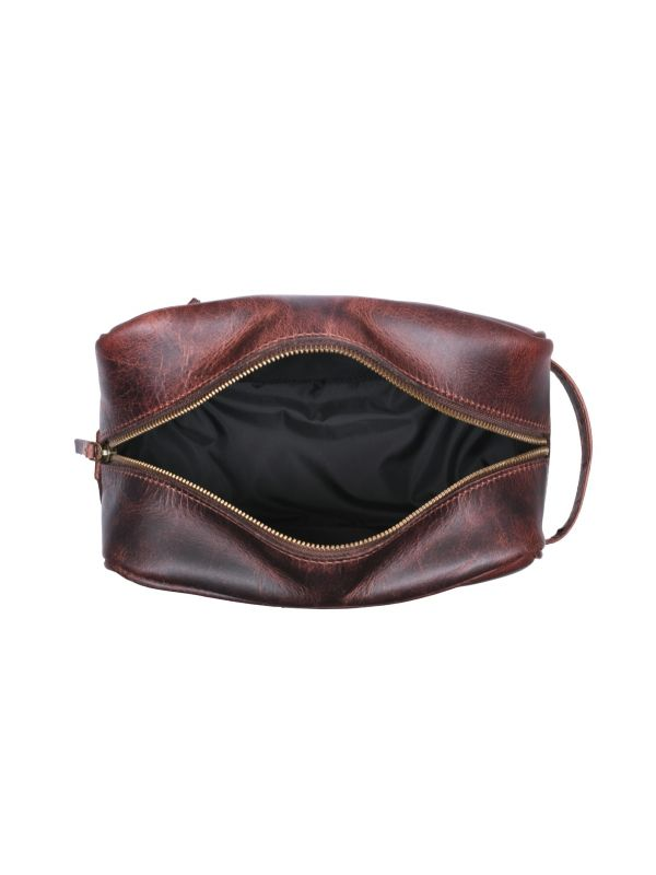 Vacone Leather Toiletry Bag - Walnut Brown