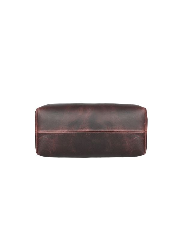 Valencia  Canvas Leather Toiletry Bag - Coffee